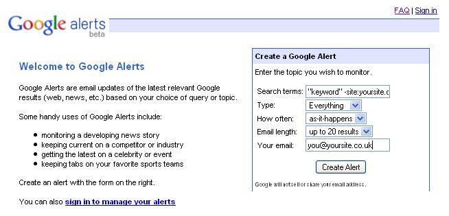 Google Alerts Setup